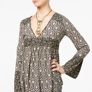 Free People Rolling Hills print bell sleeve tunic